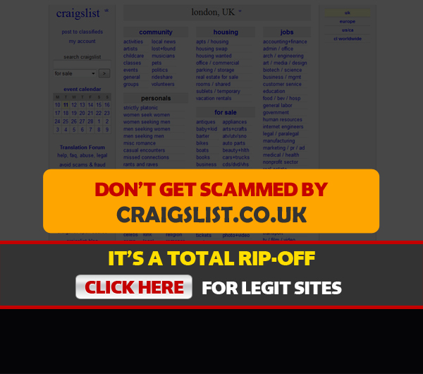screenshot of craigslist homepage